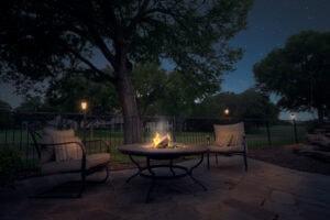 After twilight shot of firepit table